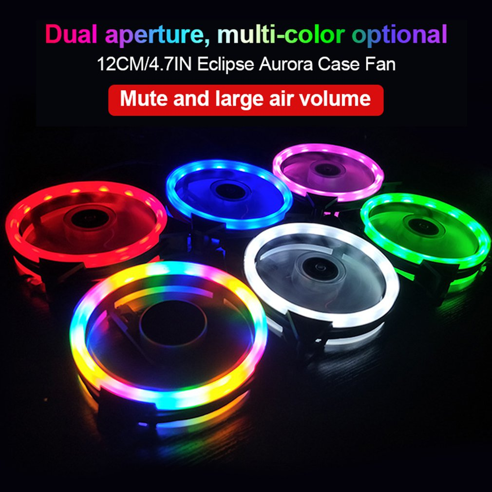 120mm pc computer ultra silent led cooling fan radiator with hydraulic bearing super quiet rgb cooler for desktop computer 120mm PC Computer Case Fans Ultra Silent LED Cooling Fan 12VDC 3P IDE 4Pin Radiator CPU Cooler Fan With Anti-Vibration Rubber