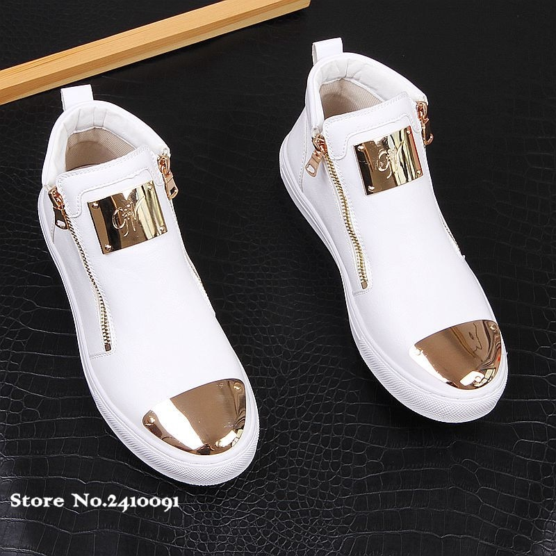 2021 New Luxury Brand Men Fashion High Top Sneakers Spring Autumn Casual High Shoes Men Leather Boots Microfiber Shoes