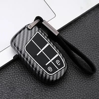 abs carbon car remote key cover case for jeep compass renegade bu grand cherokee wk2 2015 2021 for chrysler 200 300 accessories