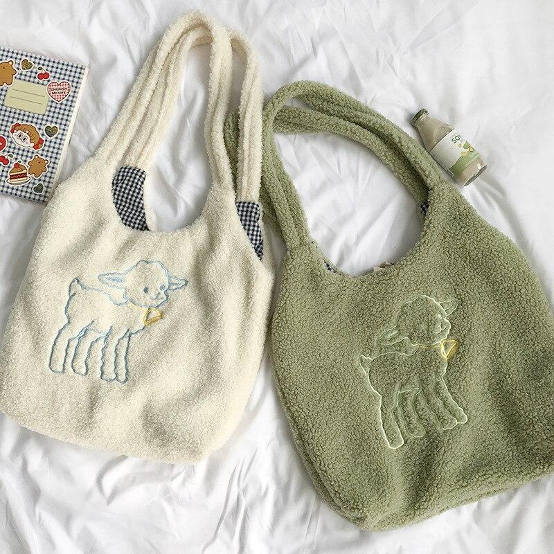 Women Shoulder Bag Large Capacity Lamb Like Fabric Tote Embroidery Canvas Handbag Shopping Bag Cute Book Bags For Girls