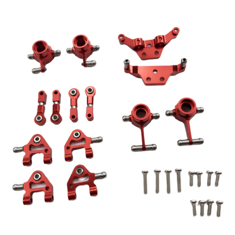 Metall Aktualisiert Teile Lenkung Tasse Schaukel Arm Stoßdämpfer Platte Set für Wltoys P929 P939 K969 K979 K989 K999 1/28 RC Auto, rot