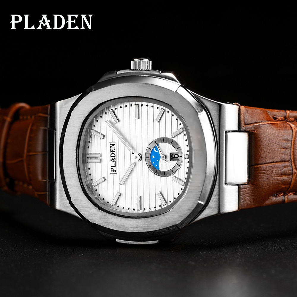 PLADEN Top Brand Luxury Men Sports Quartz Watch Fake Moon Phase Waterproof WristWatch Fashion Casual Men Watch relogio masculino