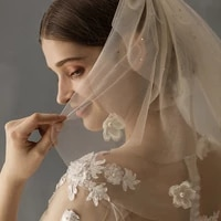 simple short bridal veil soft tulle beaded ivory wedding veil with shiny crystal for bride travel studio photo perform prop v630