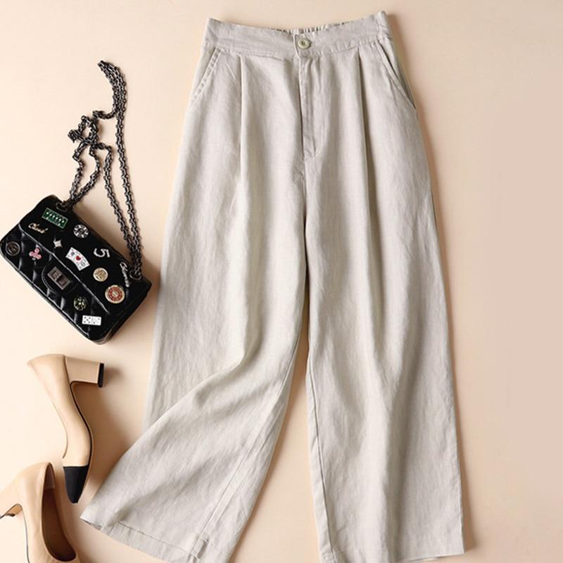 Women Summer Satin Wide Leg Pants Casual Large Size Loose High Waist Solid Trousers Female Korean El