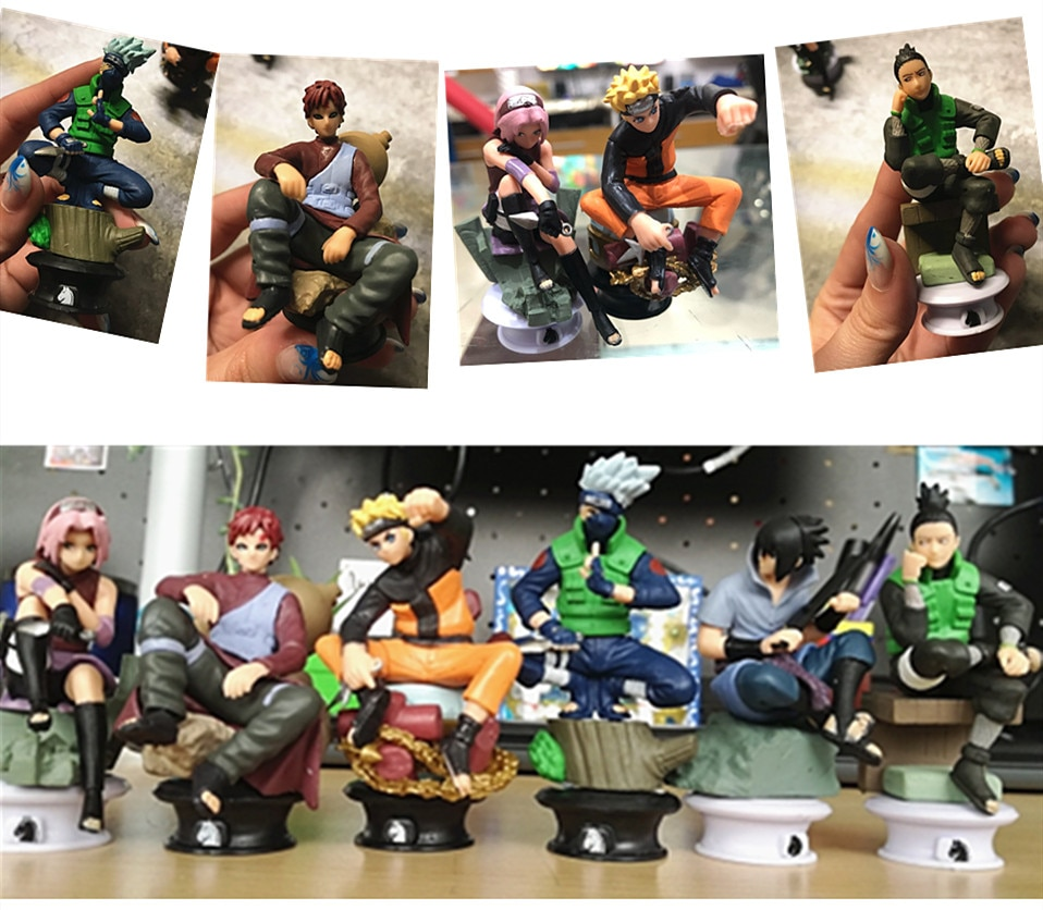 Narutoless figura anime boneca 6 enfeites de xadrez pvc boneca atacado zuo assistente escritório presente natal modelo favoritos