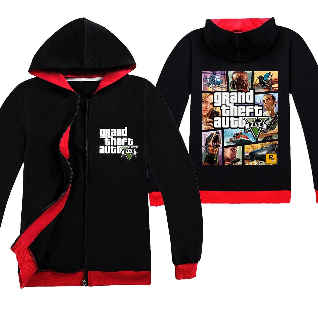 2020 nuevo juego Grand Theft Auto GTA 5 abrigo con cremallera para niños Cool GTA5 ropa para niños Tops estampados coloridos ropa divertida para niñas
