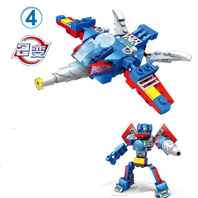 4 in 1 City Deformation Mecha Block Set 2 in 1 Transformation Robot Vehicle Kids Educational Building Brick Toy