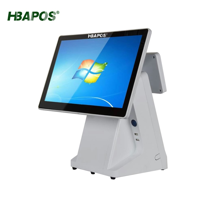Cash register with 58mm 80mm printer 15inch single dual display pos system pos terminal touch screen for pos and kitchen print