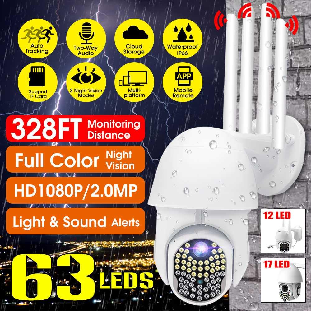 63 LEDs 1080P PTZ WIFI Camera Outdoor Auto Tracking Speed Dome WiFi Wireless CCTV Camera Security Surveillance Waterproof Camera