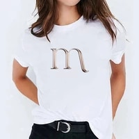 26 letters t shirts women short sleeve white crop top women clothing with sleeves t shirt for girls summer womens free shipping
