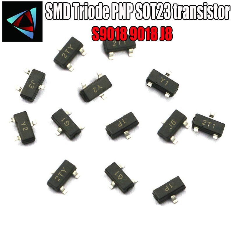 100 peças s9018 sot23 9018 sot smd j8 npn smd sot-23 montagem em superfície smd triode pnp sot23 transistor