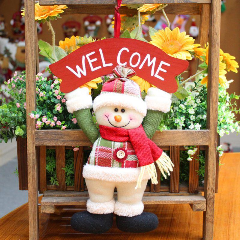 Adorable Santa Claus/muñeco de nieve muñeca con signo de madera colgante decorativo colgantes Año Nuevo adornos de Navidad colgantes DROPSHIP