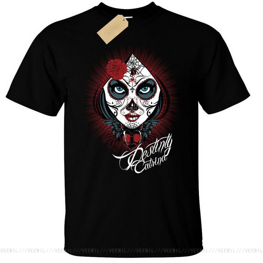 Destiny Catrina Tops Tee T Shirt Mens Day Of The Dead Sugar Skull Gothic Goth Alternative T-Shirt More Size And Colors