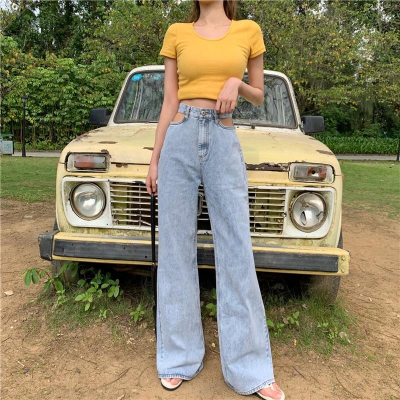Summer New Hong Kong Style Vintage Chic Hollow Mop Jeans Women's Fashionable All-Match High Waist Sl