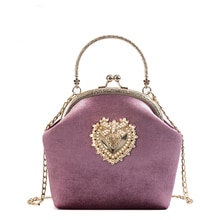 Bayan kadife kalp şeklinde rozet moda rahat bayan kabuk tipi çanta omuzdan askili çanta parti çanta Crossbody Mini askılı çanta