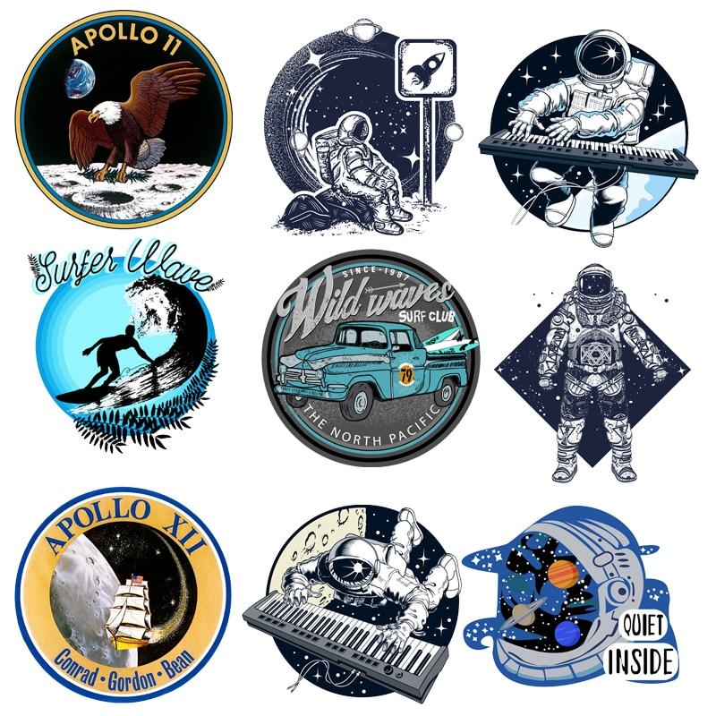 Нашивка с космонавтом, космосом, планетой, автомобилем