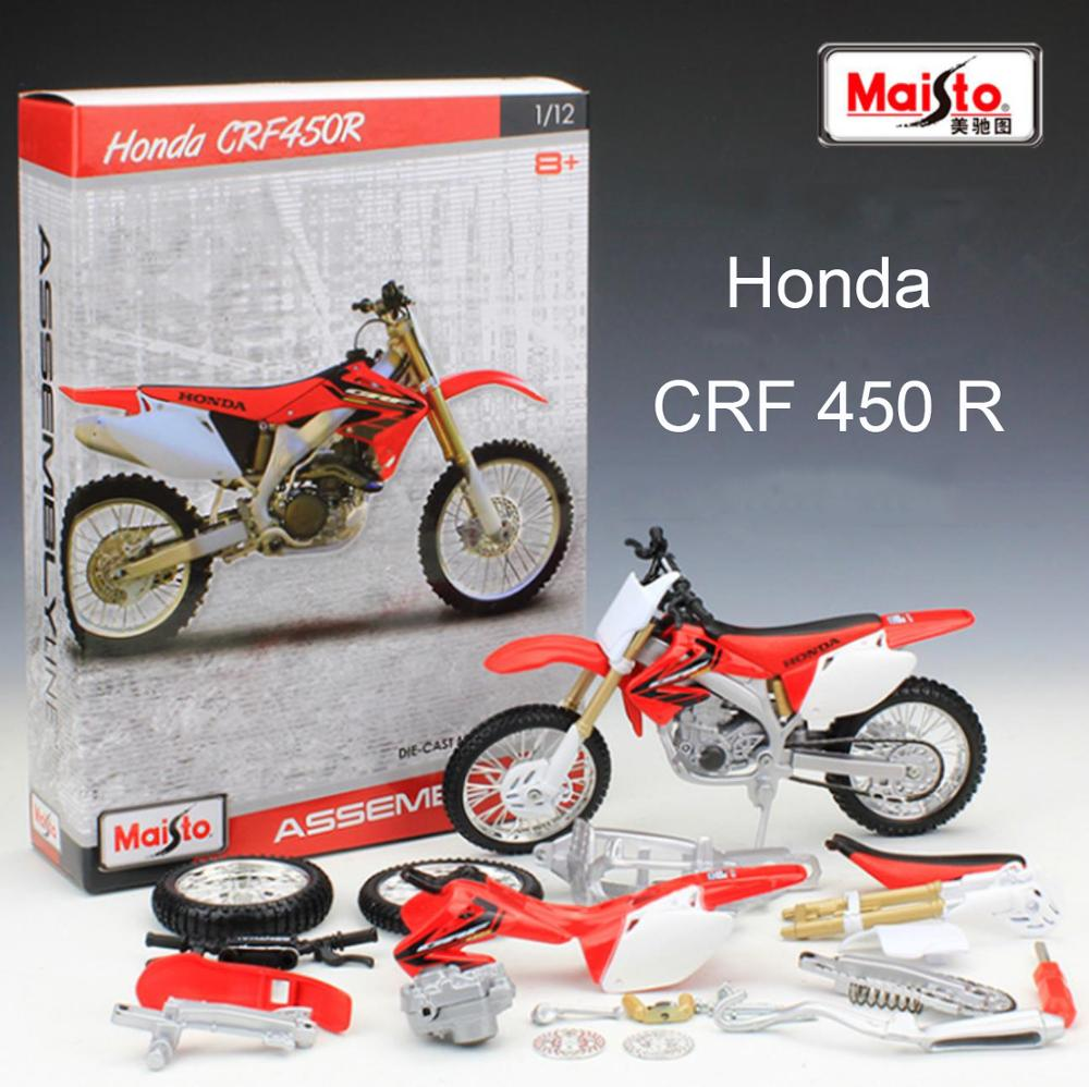 Maisto 1/12 1:12 Scale Honda CRF 450 R Off Road Motocross Motorcycle Assembly Display Collectible Models Children Boys Kid Toy