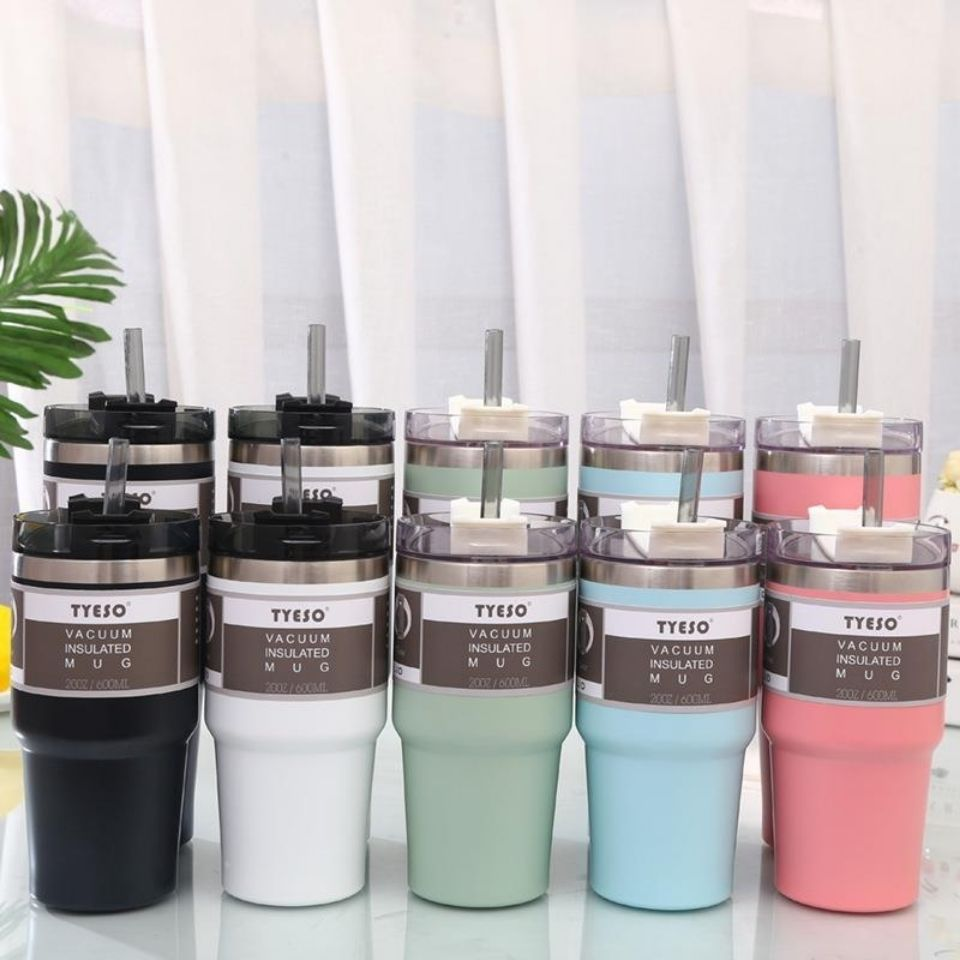 600 & 890ml Creative Fashion 304 Stainless Steel Thermo Cup Travel Coffee Mug With Lid Straw Car Water Bottle For Gift