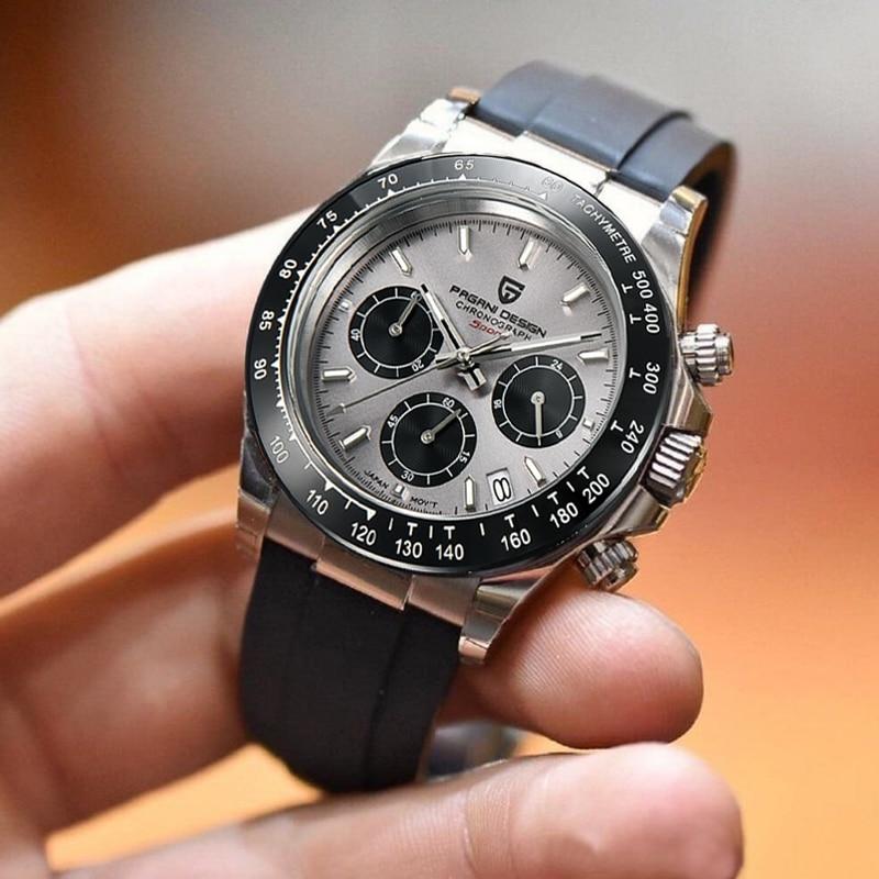 2021 New PAGANI DESIGN Quartz Watch Men Top Brand Automatic Date Wristwatch Silica gel Waterproof Daytona Chronograph Clock Mans