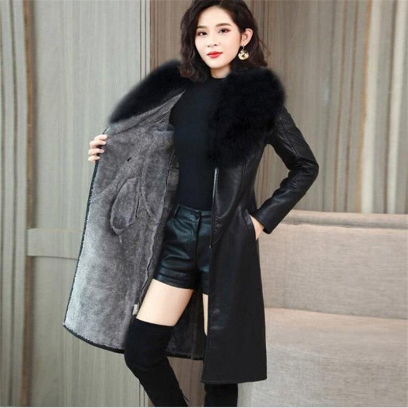 كبير الفراء طوق الشتاء سترة جلدية المرأة زائد المخملية سميكة منتصف طول الكورية ضئيلة و رقيقة الخصر سترة جلدية أنيقة معطف