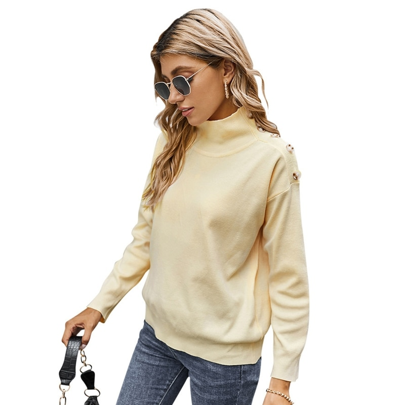 Women Long Sleeve Solid Color Sweater Turtleneck Buttons Decor Loose Jumper Tops enlarge