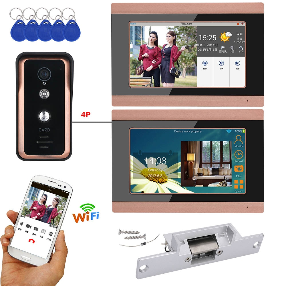 2 monitores 7 pulgadas registro inalámbrico Wifi RFID Video puerta teléfono timbre intercomunicador sistema con 720P Cámara bloqueo eléctrico