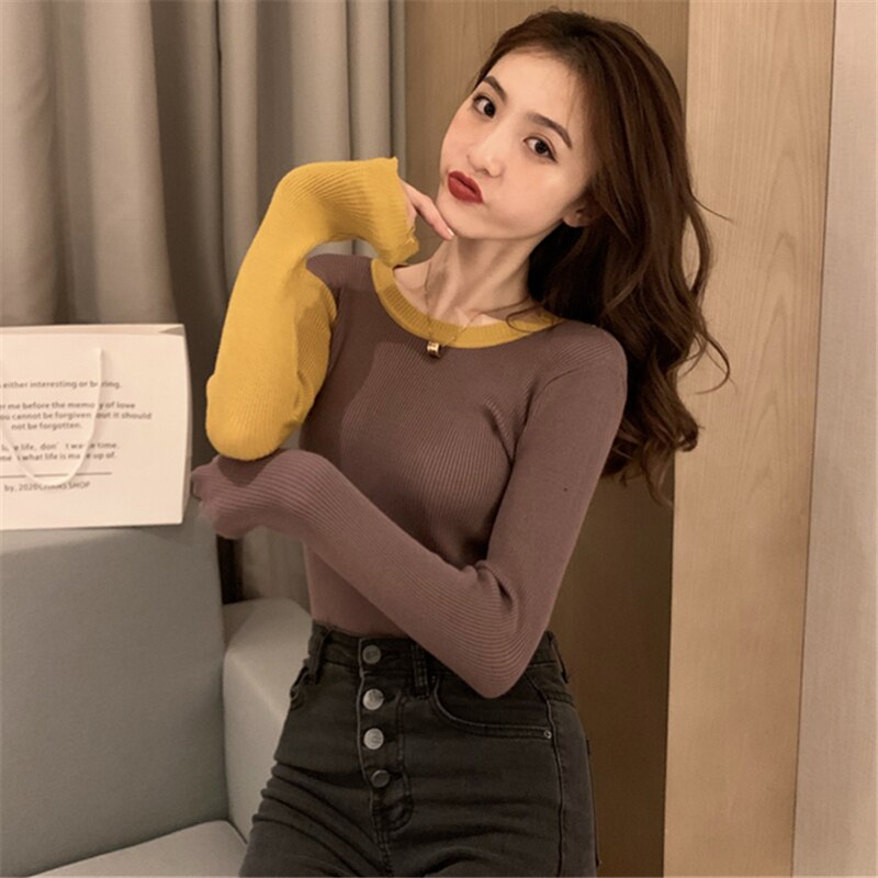 Hong Kong Style Chic Retro Fake Two Pieces Sweaters Women's Fall/Winter Slim Slimming All-Match Care