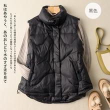 Down Cotton Vest Women Lightweight Jacket 2021 Winter New Japanese Style Short Waistcoat Sleeveless