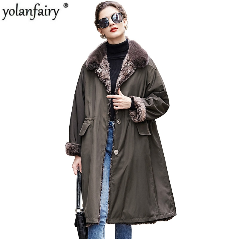 معطف فرو حقيقي سترة شتوية للنساء 2020 معطف فرو خروف طبيعي معطف فرو منك معطف ذو ياقة من جهتين 1901 KJ3788