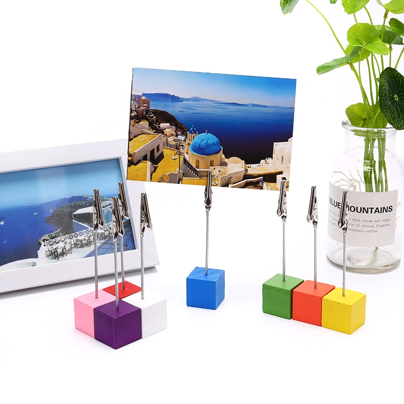 color cube stand alligator wire desk card note picture memo photo clip holder table wedding party place favor personalized gift Cube Base Alligator Wire Photo Clip Office Desk Business Card Holder Stand Desktop Ornaments 1pcs