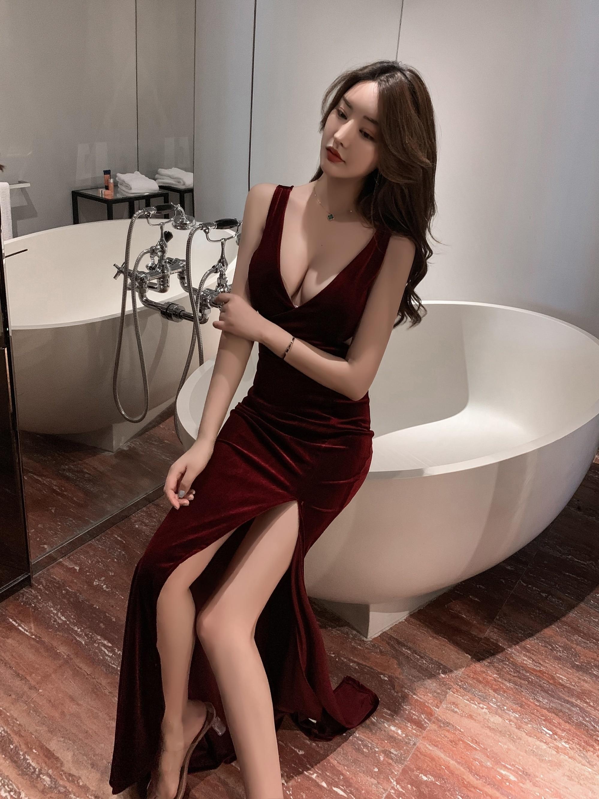 CMAZ-ropa de trabajo para club nocturno, Vestido largo con abertura lateral, ajustado, de corte bajo, Sexy