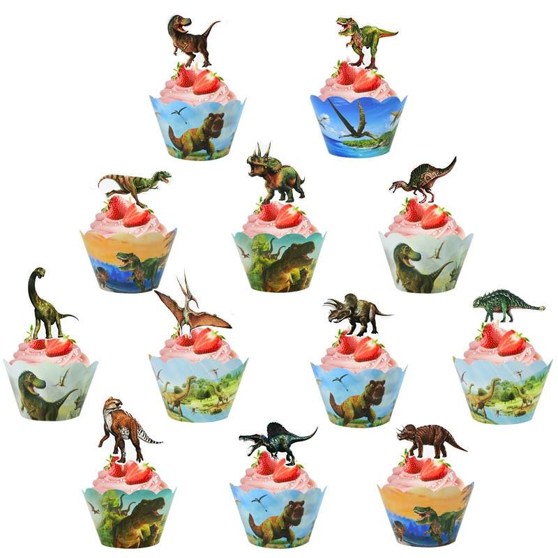 24Pcs Birthday Dinosaur Cupcake Wrappers Jungle Safari Roar Dino Cupcake Topper For Kid Birthday Jurassic World Party Cake Decor