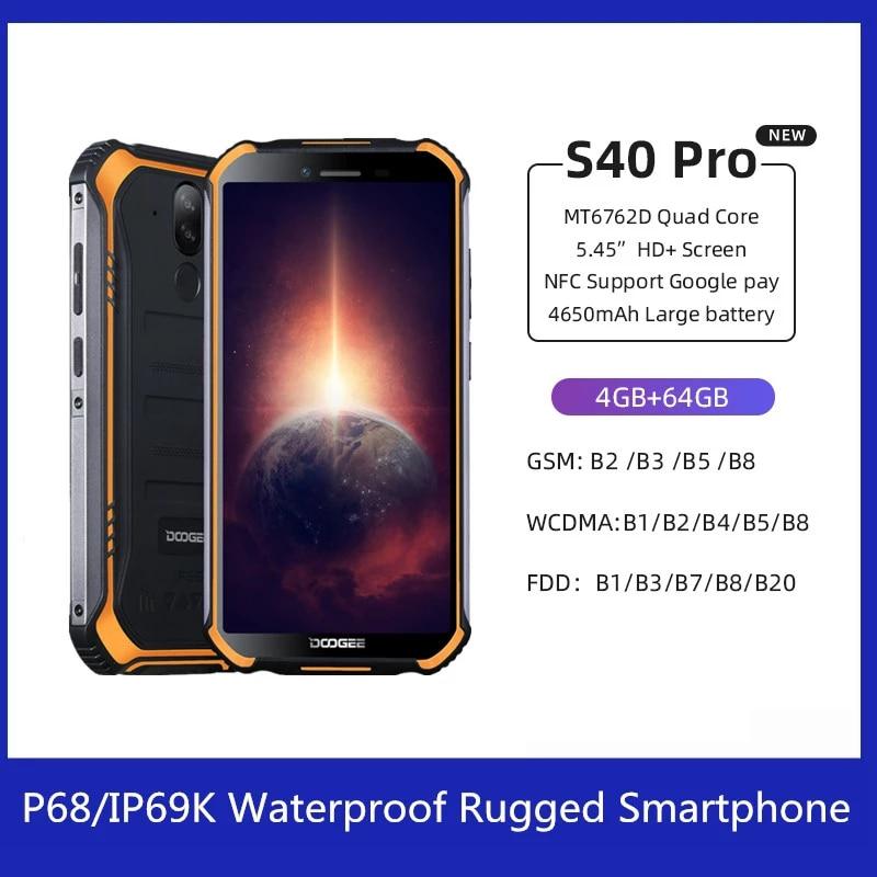 DOOGEE S40 Pro Android 10 прочный смартфон IP68/IP69K 4 Гб 64 Гб Восьмиядерный 13 МП мобильный телефон с восьмиядерным процессором NFC 4G LTE
