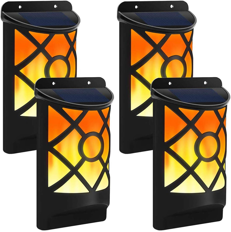 Luces parpadeantes solares en llamas, 66 luces LED impermeables solares para patio, lámparas de pared para decoración de jardín, iluminación exterior, luz nocturna