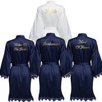 new navy matt satin kimono robes with lace women wedding bride robes sleepwear bridesmaid robes bridal robes