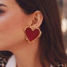 Lalynnly Red Heart Love Earrings For Women New Metal Vintage Holloween Brand Earrings Sweet Dangle Earrings Party Gifts Jewelry