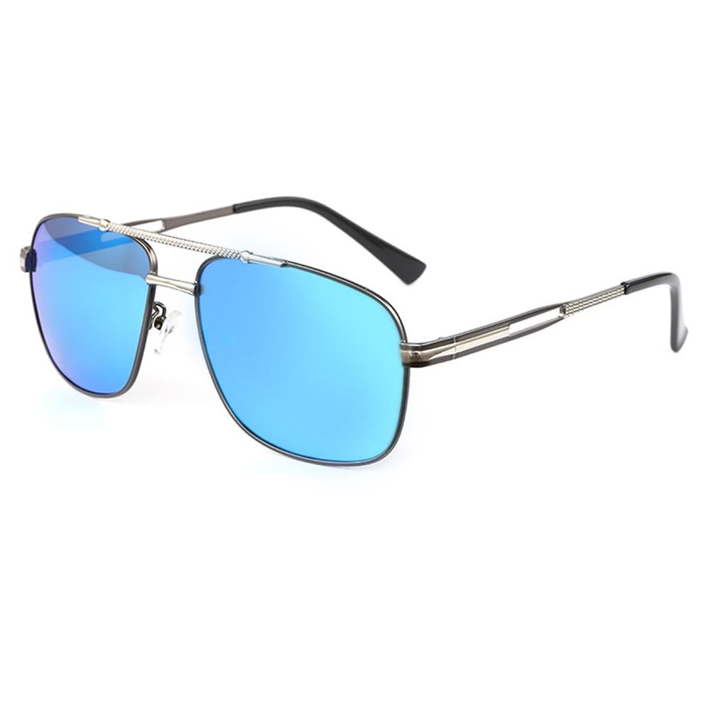 New Fashion Men Polarized Sunglasses Metal Frame Blue Mirror Driving Sunglasses Come With Box