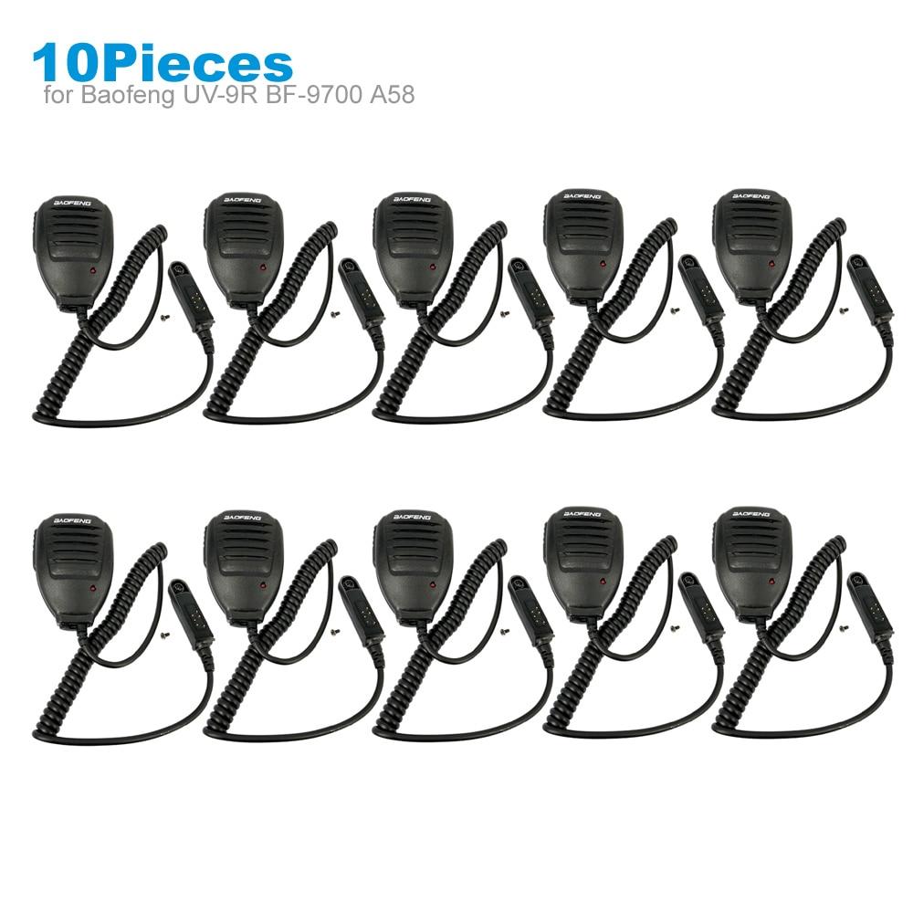 10 piezas PTT micrófono hombro micrófono altavoz para BAOFENG A58 BF-9700 UV-9R más GT-3WP R760 82WP Walkie Talkie dos vías radio