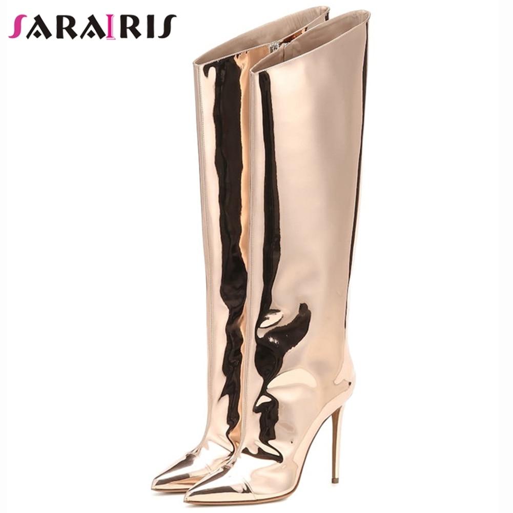 SaraIris-حذاء نسائي بكعب عالٍ ، فضي ، معدني