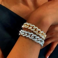 thick chain bracelet wide flash rhinestone bracelet link for women girls street trend cool jumping accessories