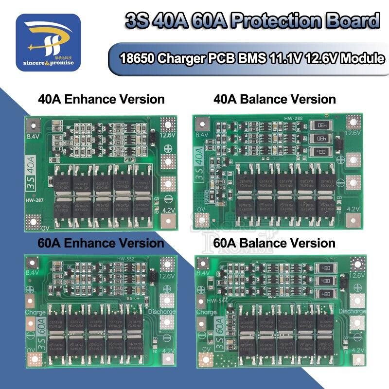 3S 40A 60A литий-ионная литиевая батарея 18650 зарядное устройство PCB BMS Защитная плата с балансом для электродвигателя 11,1 V 12,6 V Lipo Cell
