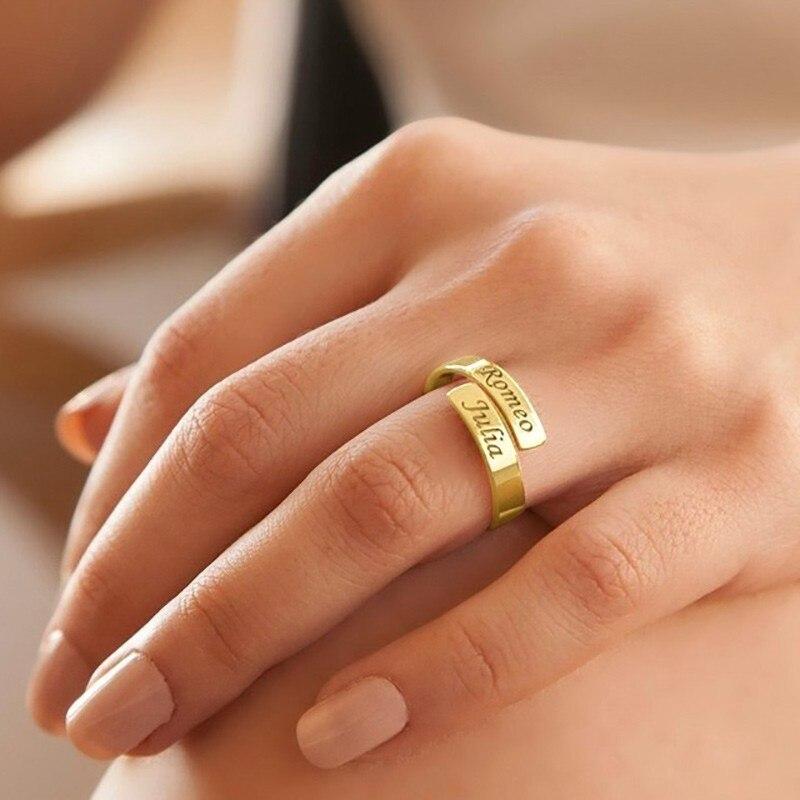 Ouro rosa anel personalizado para o nome feminino carimbado dois nome abraço urdidura jóias presente personalizado para ela