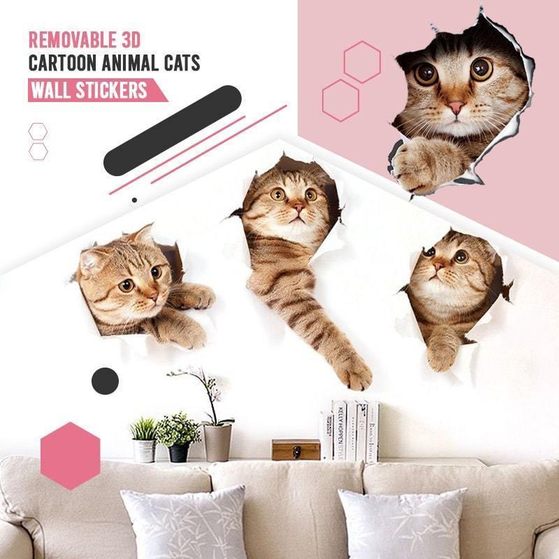 1 шт. 3D мультфильм животных кошки наклейки на стену универсальная трансформирующаяся дома автомобиля ПВХ 3D мультфильм наклейки для кошек