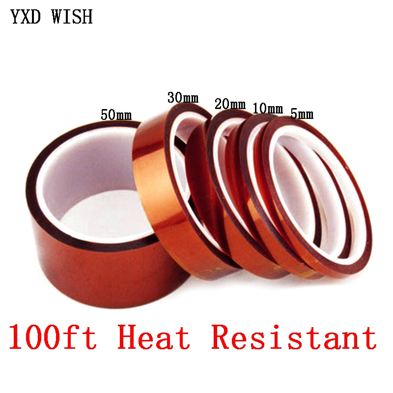 1pcs 33m heat resistant polyimide tape high temperature adhesive insulation tape for bga electronic repair pcb smt Kaptons Tape Heat Resistant High Temperature High insulation electronics industry welding Polyimide Kapton Tape For Electronic