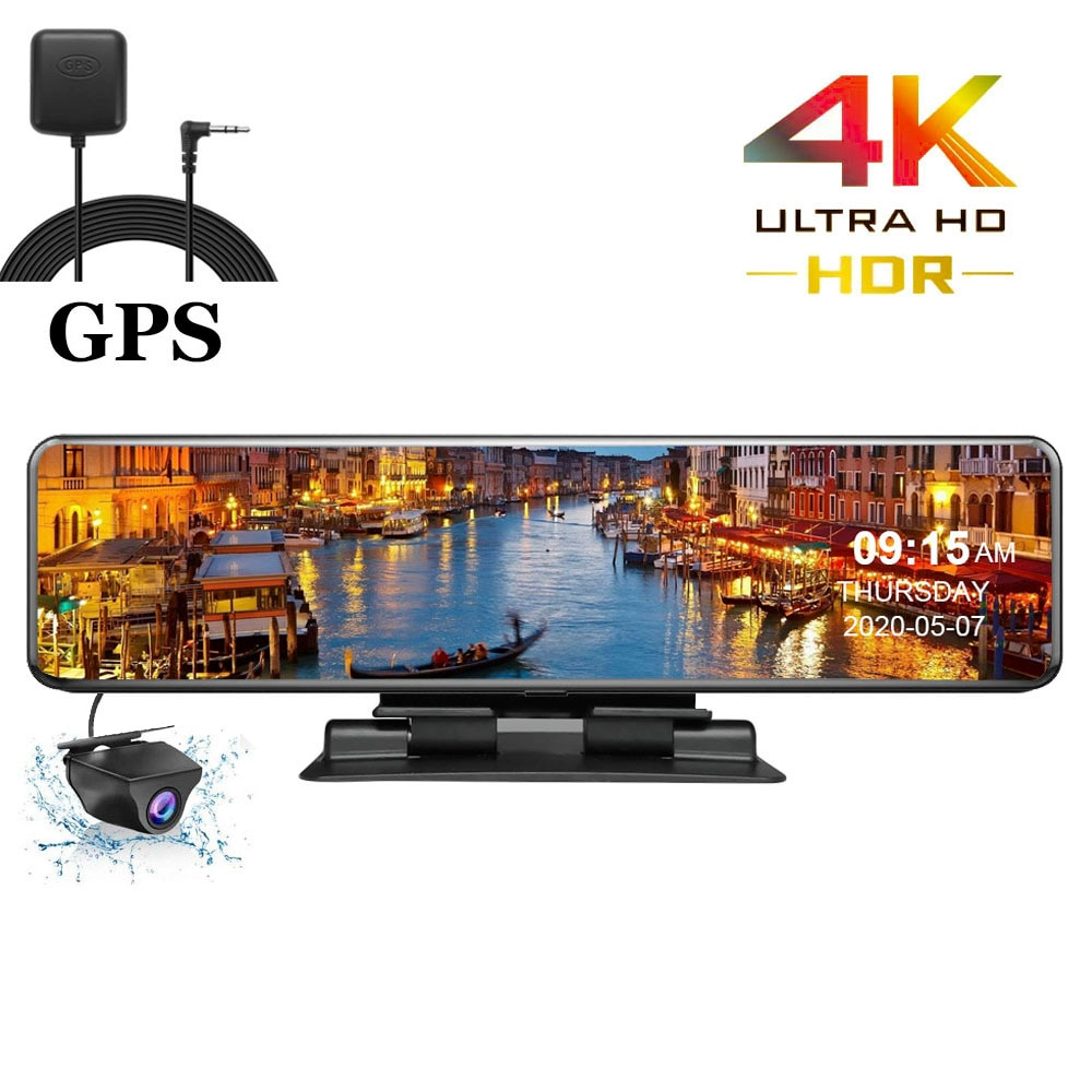 Hgdo 4k 3840 × 2160 carro dvr gps faixa dashboard gravador de vídeo sony imx415 câmera espelho retrovisor auto registrador console dvrs
