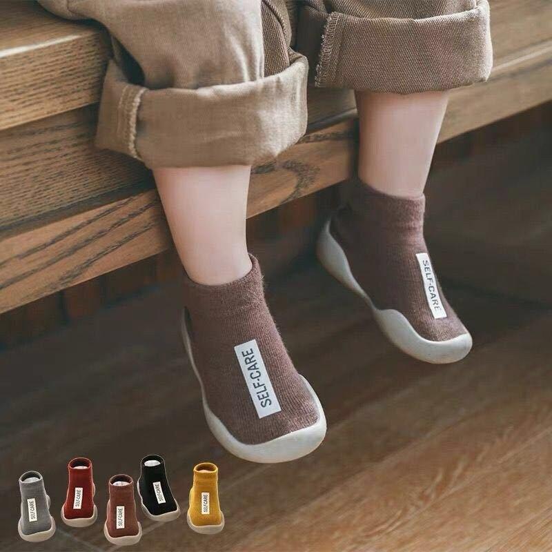 Носки для детей от 0 до 3 лет, детские носки, однотонные Нескользящие Дышащие носки для дома и улицы