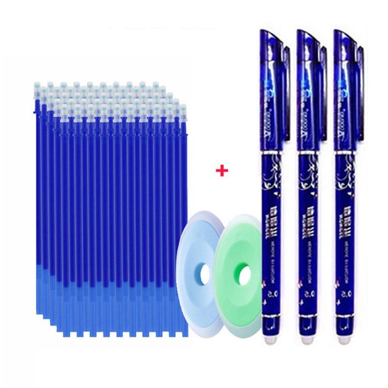 55pcs/set Colored Ink Erasable Pen Refills Rods 0.5mm Magic Erasable Gel Pen Washable Handle Office School Writing Stationery