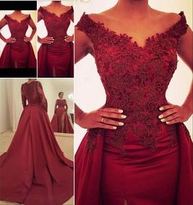 Formal Evening Dresses 2019 Dark Red Off the Shoulder Overskirt dubai Arabia robe de soiree vestido de fiesta de noche abiye