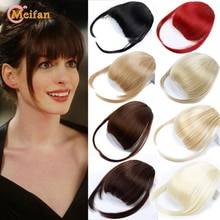 MEIFAN Women's Synthetic Air Bangs Thin Invisible Clip In Hair Bangs Extensions Straight Neat Fringes Fake Bangs