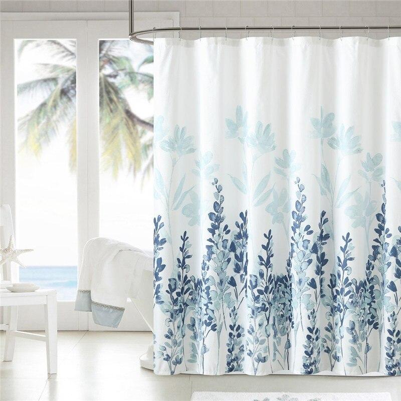 الأزرق والرمادي المائية الزهور الفن دش الستار مع السنانير خواتم مقاوم للماء ستارة الحمام 180x180cm